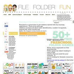 Preschool File Folder Games