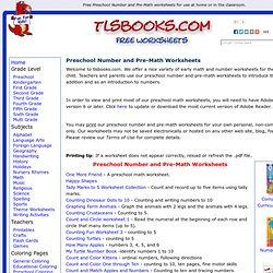 Free Preschool Number and Pre-Math worksheets.