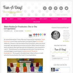 Math Activities for Preschoolers: 1-to-1 Correspondence {Fun-A-Day!}