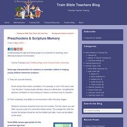 Preschoolers & Scripture Memory