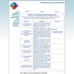 Activités - Préscolaire - Développement du langage oral