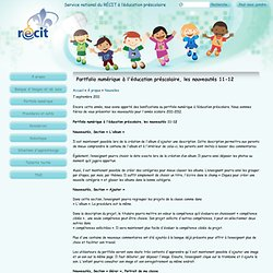 Portfolio numérique à l'éducation préscolaire, les nouveautés 11-12