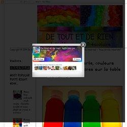 De tout et de rien: Activités pour le Préscolaire: Bouteilles de découverte, couleurs primaires et secondaires sur la table lumineuse...