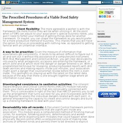 The Prescribed Procedures of a Viable Food Safety Management System by Dharmendra Singh