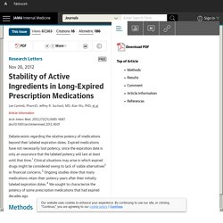 Stability of Active Ingredients in Long-Expired Prescription Medications