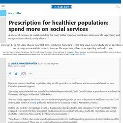 Prescription for healthier population: spend more on social services