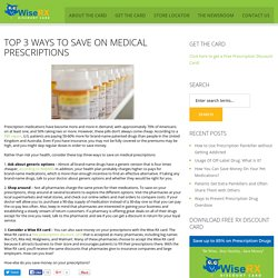 Top 3 Ways to Save on Medical Prescriptions
