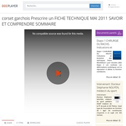 corset garchois Prescrire un FICHE TECHNIQUE MAI 2011 SAVOIR ET COMPRENDRE SOMMAIRE - PDF