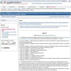 Respecter la Loi : légifrance - décret de confinement des centres de documentation du 23 mars 2020 prescrivant les mesures générales nécessaires pour faire face à l'épidémie de covid-19