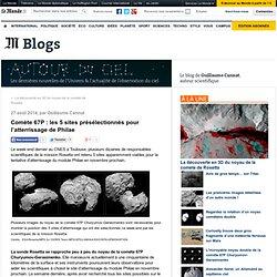 Comète 67P : les 5 sites présélectionnés pour l'atterrissage de Philae