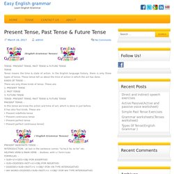 Present Tense, Past Tense & Future Tense(English Grammar Tenses)