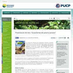 """Instituto de Ciencias de la Naturaleza, Territorio y Energías Renovables - Presentación del libro: """"Ecosistemas del páramo peruano"""""""