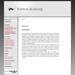 Revue : Sciencedujeu.org