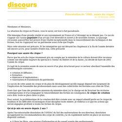 Discours de présentation : 2001, ANNEE DU CIRQUE