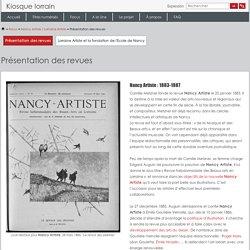 Présentation des revues · Nancy Artiste / Lorraine Artiste · Kiosque Lorrain