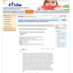 EFSA 31/05/11 Scientific and technical guidance for the preparation and presentation of an application for authorisation of a he