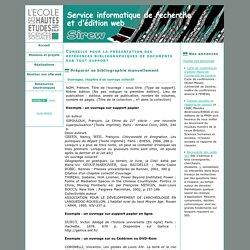 Conseils pour la présentation des références bibliographiques de documents sur tout support