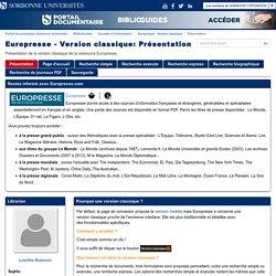 Présentation - Europresse - Version classique - BiblioGuides at Sorbonne Universités