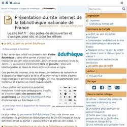 Présentation du site internet de la Bibliothèque nationale de France - Lettres