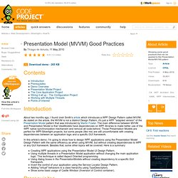 Presentation Model (MVVM) Good Practices
