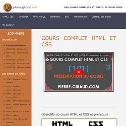 Présentation du cours complet HTML et CSS