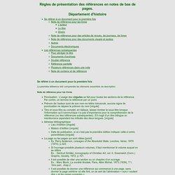 Règles de présentation des références en notes de bas de pages. Département d'histoire