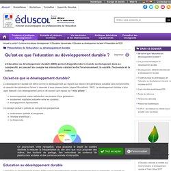 Présentation de l'EDD - Qu'est-ce que l'éducation au développement durable ?