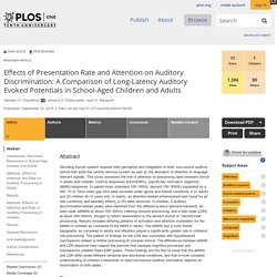 Effects of Presentation Rate and Attention on Auditory Discrimination: A Comparison of Long-Latency Auditory Evoked Potentials in School-Aged Children and Adults