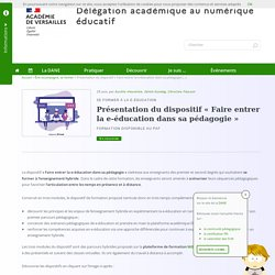 Présentation du dispositif « Faire entrer la e-éducation dans sa pédagogie »