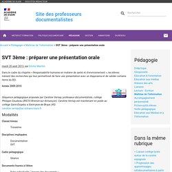 SVT 3ème : préparer une présentation orale