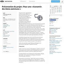 Présentation du projet : Pour une « économie des biens communs »