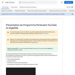 Présentation du ProgrammePartenaireYouTube - Aide YouTube