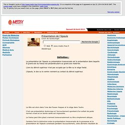 Présentation de l'épaule - Encyclopédie médicale - Medix