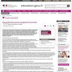 Présentation des nouveaux programmes du primaire - Ministère de l'éducation nationale