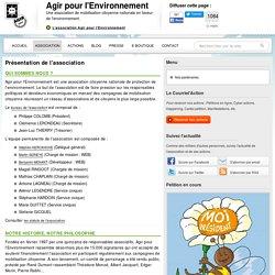 Présentation de l'association Agir pour l'Environnement