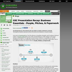 Kole Hicks's Blog - GSC Presentation Recap: Business Essentials - People, Pitches, & Paperwork
