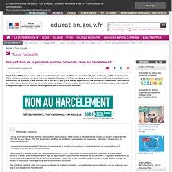 """Présentation de la première journée nationale """"Non au harcèlement"""""""