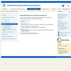 Page thématique sur le racisme: présentation - Humanrights.ch