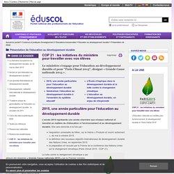 Présentation de l'EDD - COP 21 : les initiatives du ministère pour travailler avec vos élèves
