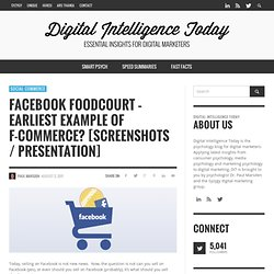 Facebook Foodcourt – Earliest Example of F-Commerce? [Screenshots / Presentation