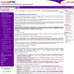 """IAS 1 """"Présentation des états financiers"""" / Textes des Normes et Interprétations / Normes et Interprétations"""