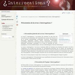Présentation de la revue ¿ Interrogations ? - revue ¿ Interrogations ?