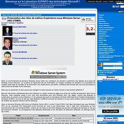 Présentation des rôles de maîtres d'opérations sous Windows Server 2003 (FSMO)