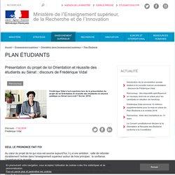 Présentation du projet de loi Orientation et réussite des étudiants au Sénat : discours de Frédérique Vidal