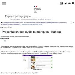 Présentation des outils numériques : Kahoot