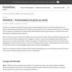 MOODLE – Présentation et prise en main – PortailEduc