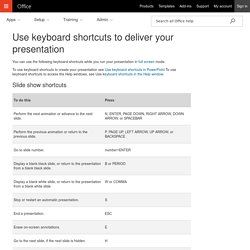 Use keyboard shortcuts to deliver your presentation - PowerPoint