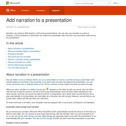 Add narration to a presentation - PowerPoint