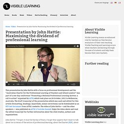 AITSL Presentation by John Hattie about Professional Learning