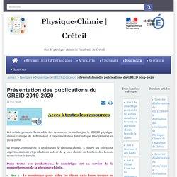 Groupe de Réflexion et d'Expérimentation Informatique Disciplinaire en PC (Académie de Créteil) 2019-2020